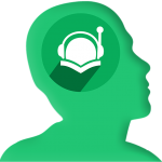 Silhouette of head with headphone-wearing reader holding open book in area of brain