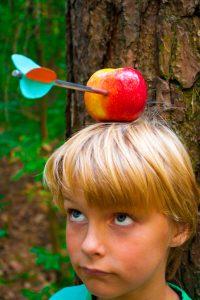 boy with apple on head