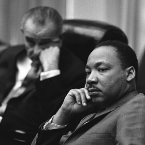 President Lyndon B. Johnson and Rev. Dr. Martin Luther King, Jr. meet at the White House, 1966