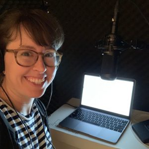 Emily Connelly in the recording booth