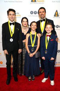 Jarret J. Krosoczka, Gina Krosoczka, and family at the Audie Awards